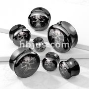 Mummy Skull Picture Insert Black Acrylic Saddle Plug