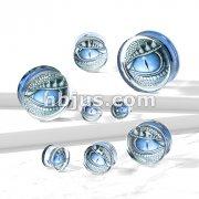 Blue Dragon Eye Print Encased Clear Acrylic Saddle Fit Plug