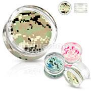 Pixelated Camouflage Print Encased Clear Acrylic Saddle Fit Plug