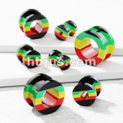 Rasta StripeScrew-Fit Hollow All Acrylic Plug
