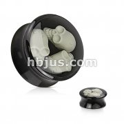 Black Acrylic Saddle Plug with Encased Triple Skulls