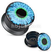 Black Acrylic Double Flare Flat Screw Fit Plug with Blue Eyeball Print