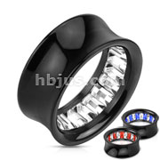 Princess Cut Gem Pattern Inlayed Inside of Black Acrylic Saddle Fit Tunnel