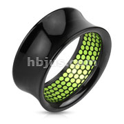 Green Dotted Pattern Inlayed Black Acrylic Saddle Fit Tunnel