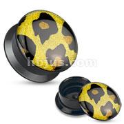 Leopard Glitter Top Black Acrylic Stash Screw Fit Plugs