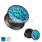 Opal Glitter Front Black Acrylic Screw Fit Stash Plugs