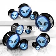 Alien Inlaid Single Flared Black Acrylic Solid Plugs with O-Ring