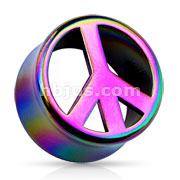 Peace Rainbow AB Coar Double Flared Acrylic Saddle Fit Plug