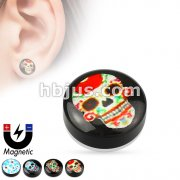 Skull Print Epoxy Dome Top Black Acrylic Fake Magnetic Plug