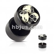 Black Acrylic Clutter of Skulls Fake Plug
