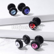 Gem Top Fake Black Acrylic Plug  With 2 O-Rings