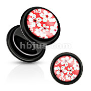 Black Acrylic Fake Plug with White Bloom Over Pink Print Inlay with O-Rings