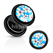 Blue Inlay w/ Cherry Blossoms Black Acrylic Fake Plug with O-Rings