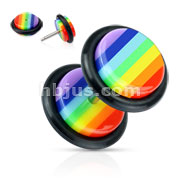 Rainbow Striped Acrylic Fake Plug with O-Ring