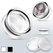 Plain Clear & Black Acrylic Double Flared Screw-Fit Plugs