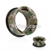 Pixelated Camouflage Printed UV Acrylic Single Flared Tunnel with O-Ring
