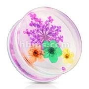 Purple Dried Flower Clear Acrylic Saddle Fit Plug