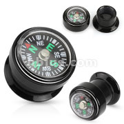 Real Compass Black Acrylic Screw Fit Plug