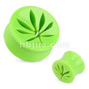 Pot Leaf Hollow Green Acrylic Saddle Plug