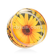 Sunflower Print Encased Clear Acrylic Saddle Fit Plug