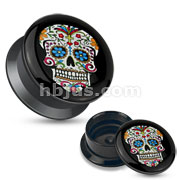 Blue Sugar Skull Black Acrylic Stash Screw Fit Plug