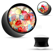 Colorful Crystals Filled Black with Clear Faces Acrylic Saddle Plugs