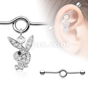 Multi Paved Gem s Playboy Bunny with Black Gem Eye 316L Surgical Steel Industrial Barbell