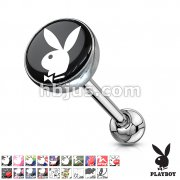 Playboy Bunny Print Inlayed 316L Surgical Steel Barbell