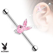 Pink AB Stone Playboy Bunny with Black Gem Eye 316L Surgical Steel Industrial Barbell