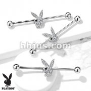 Clear Crystal Paved Playboy Bunny with Black Gem Eye 316L Surgical Steel Industrial Barbell