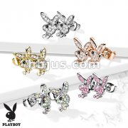 Pair of CZ Paved 316L Surgical Steel Playboy Bunny Post Earrings