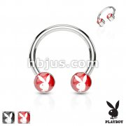 Playboy Bunny Inlaid Front Facing Flat Cylinder 316L Surgical Steel Horseshoe, Circular barbells