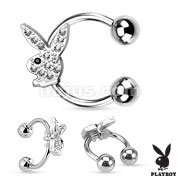 Gem Paved Playboy Bunny 316L Surgical Steel Ear Cuff / Horseshoe