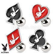 Epoxy Card Suit Symbols with Playboy Bunny 316L Surgical Steel Cartilage/Tragus Barbell