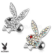 Playboy Bunny with Multi Paved Gems 316L Surgical Steel Cartilage/Tragus Barbell