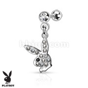 Playboy Bunny with Paved Gems 316L Surgical Steel Cartilage/Tragus Barbell
