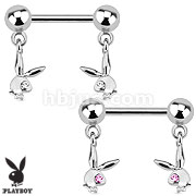 Playboy Bunny with Gemmed Eye Dangle 316L Surgical Steel Nipple Bar