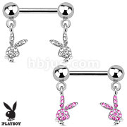Playboy Bunny with Paved Gems Dangle 316L Surgical Steel Nipple Bar