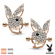 Pair of Crystals Paved Playboy Bunny Double Tier Nipple Shields