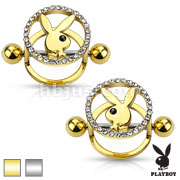 Pair of Playboy Bunny Centered CZ Paved Circle 316L Surgical Steel Nipple Shields