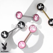 Playboy Bunny Inlaid 316L Surgical Steel Barbell Nipple Rings