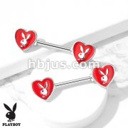Enamel Heart with Playboy Bunny 316L Surgical Steel Nipple Barbell Rings