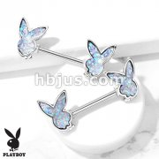 Druzy Stone Playboy Bunny 316L Surgical Steel Nipple Barbell Rings