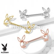 Playboy Bunny with Crystal Eye and Beaded Edges 316L Surgical Steel Nipple Barbell Rings