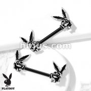 Playboy Bunny Skull Ends with Black PVD Bar 316L surgical steel Nipple Barbell Rings