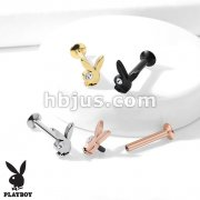 Playboy Bunny with CZ Eye Top 316L Surgical Steel Internally Threaded Labret, Monroe, Ear Cartilage, and More