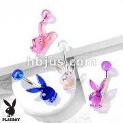 AB Efect Acrylic Playboy Bunny with Clear Gem Eye 316L Surgical Steel Belly Button Navel Rings
