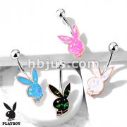 Opal Glitter Playboy Bunny in Rose Gold Casing 316L Surgical Steel Belly Button Navel Rings