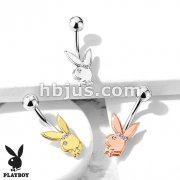 Playboy Bunny with Clear Gem Eye and Triple Gem Headband 316L Surgical Steel Belly Button Navel Rings