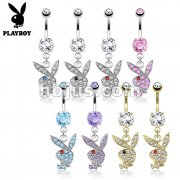 Paved Gems on Playboy Bunny Dangle 316L Surgical Steel Navel Ring 48pcs Pack
